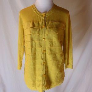 Chadwicks Cardigan Sweater Yellow Size L